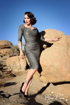 Monica Dress in Black and Silver Lurex Knit - Coming Soon - Clothing | Pinup Girl Clothing