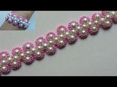 Tutorial for beginners. DIY Beaded pink bracelet - YouTube