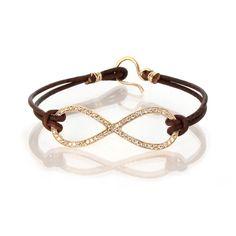 14k pave infinity leather bracelet