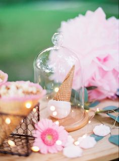 Bell jar, pom poms, micro lights and flowers are ideal party decorations! Amazing Gardens, Beautiful Gardens, The Bell Jar, Bell Jars, Outdoor Lighting, Lighting Ideas, Outside Living, Party Lights, Garden Trees