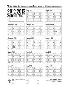 Free Printable School Calendar for 2012-2013