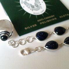Bracelet argent pur 925 et golstone - bague reglable argent pur et onyx noir