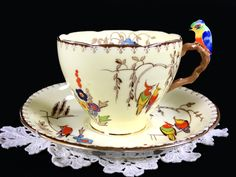 Parrot Handled Grafton Teacup and Saucer, Rare BAJ & Sons Tea Cup, Mad – The Vintage Teacup