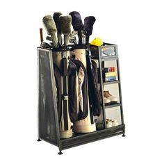 Great for the Hubs: Metal golf bag organizer. Stores two bags and standard golf equipment. Product: Golf organizerConstruction Material: Metal Color: BlackFeatures: Stores two golf bags and standard golf equipmentDimensions: H x W x D Garage Organization, Garage Storage, Bag Storage, Organizing Ideas, Organized Garage, Sports Organization, Kayak Storage, Workshop Organization, Skateboard Storage
