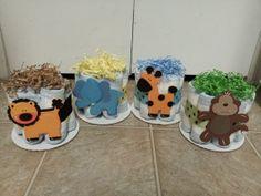4 JUNGLE theme mini diaper cakes monkey, giraffe, elephant & lion baby shower centerpiece. $25.00, via Etsy.