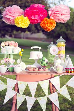 DIY Printable Birthday Banner  Garden Tea Party by paigesofstyle, $10.00    hanna bday