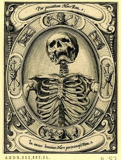 """A skeleton; set in an oval frame with hourglasses and skulls and bones"" - From a series of six engravings of memento mori* by the German artist Alexander Mair, [British Museum] Vanitas, Tattoo Studio, Memento Mori Art, Totenkopf Tattoos, Danse Macabre, Macabre Art, Desenho Tattoo, Arte Horror, Skull And Bones"