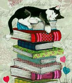 Painting cat sleeping on a pile of books. Painting cat sleeping on a pile of books. Cat Wallpaper, Animal Wallpaper, Art Carte, Image Chat, Illustration Art, Illustrations, Illustration Pictures, Cat Sleeping, Cat Drawing