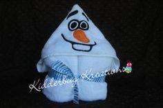 Snowman hooded towel for children by KidderbugKreations on Etsy