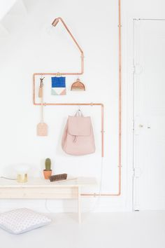 DIY structure // Home decoration // Lamp and coat rack in copper