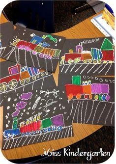 Directed draw of polar express trains using oil pastels on black construction paper--Miss Kindergarten
