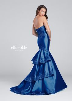 Ellie Wilde EW117157 - Strapless Mikado mermaid gown with metallic lace trimmed neckline, three-tiered back skirt and slight train. Removable straps included.