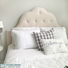 I finally found the perfect bed for my guest room - a tufted upholstered headboard. #ontheblog #homegoodshappy