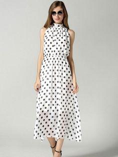 White Polka Dot Cut Away Tie Front High Neck Maxi Dress - Choies.com
