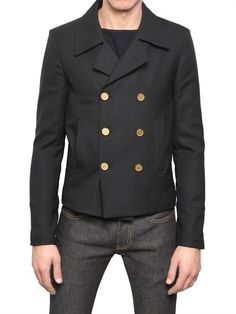 SAINT LAURENT - WOVEN WOOL CABAN JACKET - LUISAVIAROMA - LUXURY SHOPPING WORLDWIDE SHIPPING - FLORENCE