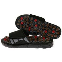 Deluxe Comfort Reflexology Sandals with Rotating Massage Heads (Medium (38-40)), Blue wash