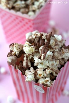 Hot Chocolate Popcorn for Valentine's Party.      1/2 cup un-popped popcorn (about 16 cups popped)  14 oz white candy melting disks or vanilla almond bark  2 cups mini marshmallows  1/2 cup Hot Chocolate (powder) mix  4 oz milk chocolate  wax paper  Make your popcorn using an air popper. (If you don't have an air-popper and use microwave popcorn, use plain or lightly