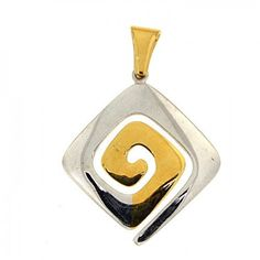 Greek golden silver spiral pendant spiral by ThetisTreasures