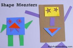 Kids paper activity-Shape Monsters, I have spend many a hours cutting these shapes for my little ones