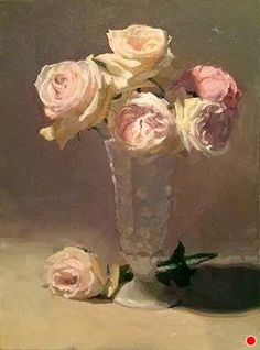 "Creamy Roses by Dennis Perrin Oil ~ 24"" x 18"""