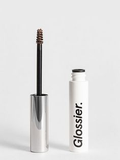 Glossier Boy Brow in clear, Thickens and shapes eyebrows, oz, brow gel with a soft, flexible hold all day - minus the pigment Glossier You, Glossier Lip Gloss, Glossier Products, Glossier Boy Brow Dupe, Glossier Dupes, Glossier Mascara, Glossy Makeup, Glossy Lips, Shopping