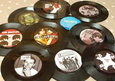 "These original 7"" vinyl records make great table names for your music themed event or Wedding. Using the pictures of your favourite album covers as your table names"