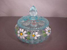 Fenton Art Glass Blue Box w/Lid Round Floral #5403