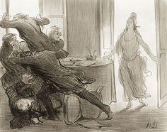 Honoré Daumier Dernier conseil des ex-ministres Lithographie, 2e état sur 2, avec la lettre. 1848.BnF - Daumier