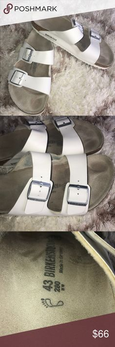 Birkenstock White Two Strap Sandals size 43! These are in great pre-owned condition. They do show minor signs of wear. Small discoloration spot on one of the straps. Please see photos.   Birkenstock Sandals 280 White Leather  Two Strap  Made in Germany Size 43/US M 10  Thanks for stopping by! Please follow me as I add new items regularly to my closet!   Make an offer or a bundle for additional savings! Birkenstock Shoes Sandals & Flip-Flops