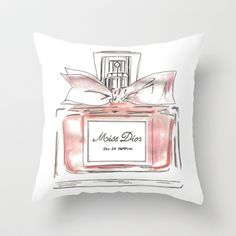 Miss Dior perfume bottle Throw Pillow by Christy McCormick - $20.00