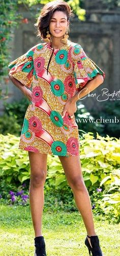 Made in a beautiful African Print and cut in an above-the-knee shift silhouette, the Green Island Shift is a Spring must have. A comfortable cotton shift, pockets. African Inspired Fashion, African Dresses For Women, African Print Dresses, African Print Fashion, Africa Fashion, African Attire, African Wear, African Fashion Dresses, African Women
