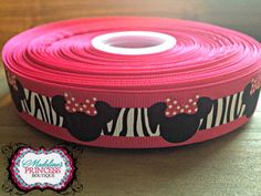 1 yard of Hot Pink and Zebra Minnie Mouse by MadelinesOnlineStore, $0.75