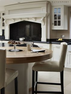 The pale hand painted cabinetry contrasts with the timber, giving the Audley kitchen a clean and relaxed feel. Kitchen Paint, New Kitchen, Kitchen Design, Kitchen Island, Island With Seating, Traditional Kitchen, Modern Luxury, Country Kitchen, Kitchen Storage
