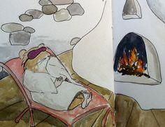 Ginger Small, Taos New mexico, spa, illustration, watercolor, hamster, kiva,