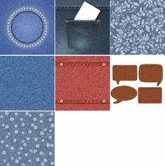 Kit 35 Vetores Efeitos Jeans Rasgado Bolso Flores Sublimação - R$ 16,00 em…