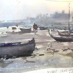 Joseph Zbukvic, tiny sketch,  Quingdao, China