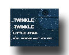 Twinkle Twinkle Little Star - Star Wars Children Song New Baby/Star Wars Kids Art-  Baby Shower Gift - Boy Wall Art-BR011 by LilyLeilaRose on Etsy https://www.etsy.com/listing/169397517/twinkle-twinkle-little-star-star-wars