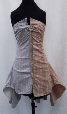 Shirt Skirt And Dress made out of two men's shirts--really cool!