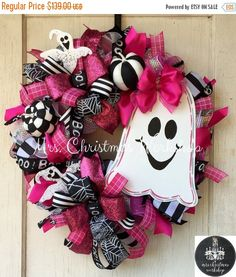 Halloween wreath ghost wreath breast cancer wreath fall wreath deco mesh wreath…