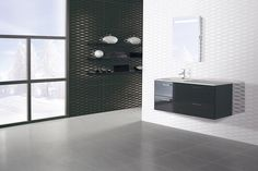Texture adds interest to simple black and white tiles, shown here Sarek Negro & Blanco