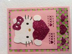Hello Kitty card.....using glitter paper.