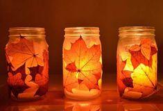 Decorazioni d'autunno per la casa - Barattoli decorati con foglie secche