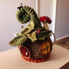 Artículos similares a Custom-made Fairy House Teapot Cozy Crocheted to Order Including Teapot en Etsy Crochet Fairy, Tea Cosies, Fairy Homes, Tea Cozy, Fabric Crafts, Baby Dolls, Whimsical, Crochet Earrings, Crochet Patterns