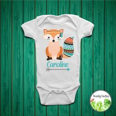 ***Please view the SIZE CHART located in the pictures of the listing. Some sizes can run small/large. Make this fox onesie, bodysuit or toddler tee custom by adding your little girls name! This listing is for an adorable personalized baby girl onesie or toddler shirt. This custom design is great for a personalized gift, and would especially make a sweet and thoughtful baby shower gift, newborn girl photos, coming home outfit or newborn girl outfit. Made to order using eco-friendly water ...