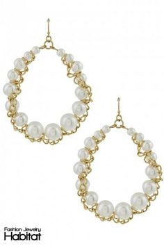 Gold Accented Pearl Drop Earrings -  $12.00 at FashionJewelryHabitat.com - #FashionJewelryHabitat #FashionHabitat