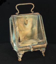 Vintage gold cherub jewelry casket beveled glass Mele jewelry box