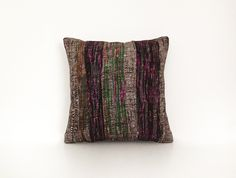 Rag Fabric Pillow Case Decorative Pillow Cover Throw Pillow Cushion Cover Pillow Case Accent Pillow Home Decor Colorful 16'' x 16'' by artgrandhome on Etsy