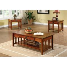 @Overstock.com - Nash Mission Style 3-piece Antique Oak Finish Coffee/ End Table Set - Add functional space to your living area with this three-piece end-table set. Featuring an antique oak finish, this set includes two end tables and a coffee table. Each table has a drawer for storage and mission-style side slats for style.  http://www.overstock.com/Home-Garden/Nash-Mission-Style-3-piece-Antique-Oak-Finish-Coffee-End-Table-Set/8126010/product.html?CID=214117 $548.99