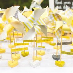 Yellow Pinwheel Escort Cards. Super cute!