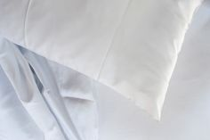 MarinaC - PURE WHITE detail - bed set in luxurious silky 300-thread-count Egyptian cotton satin #marinacmilano